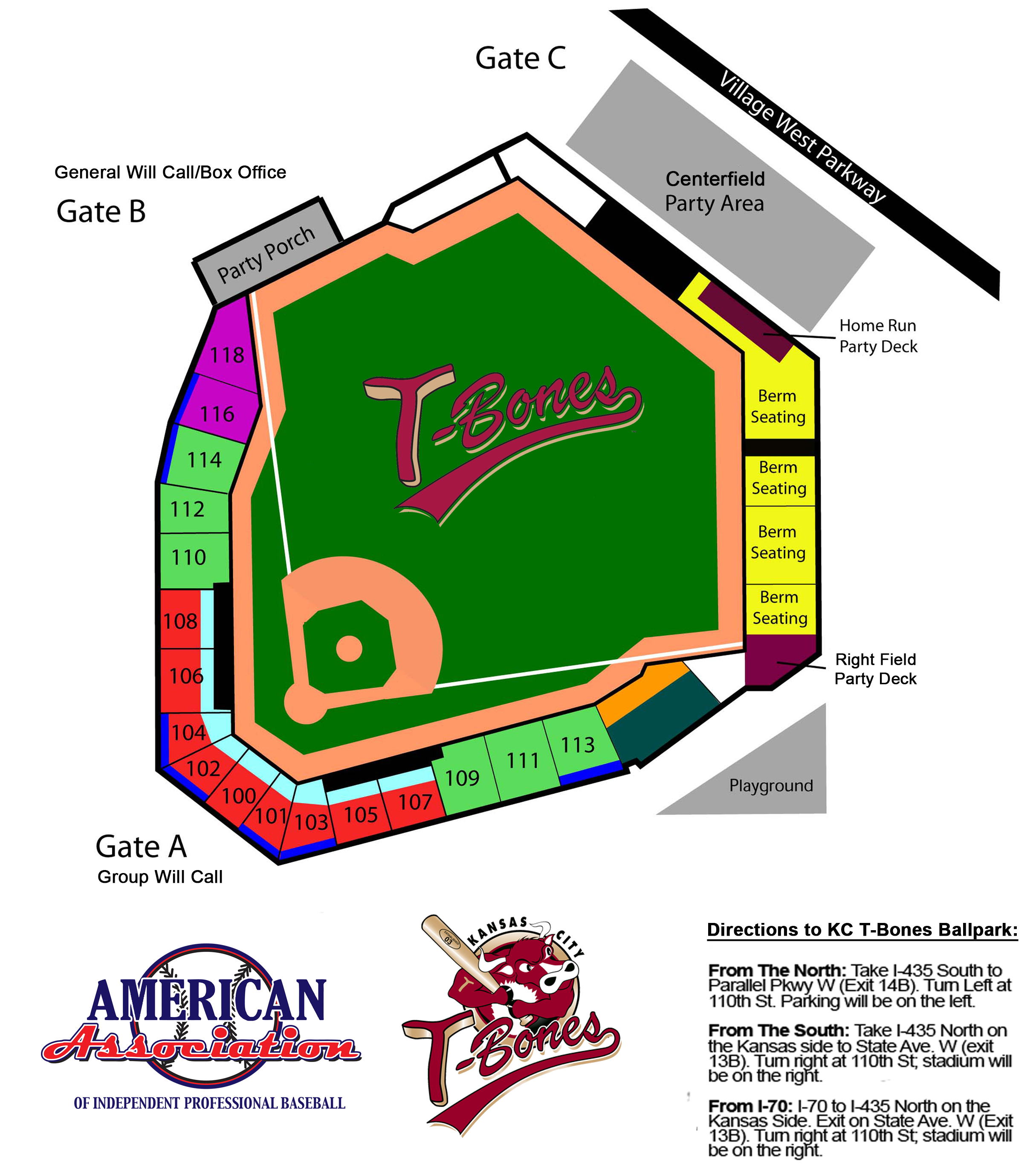 The Official Site of the Kansas City T-Bones: Stadium Map